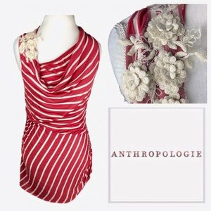 Anthropologie Cowl Neck Floral Flourish Red Tank